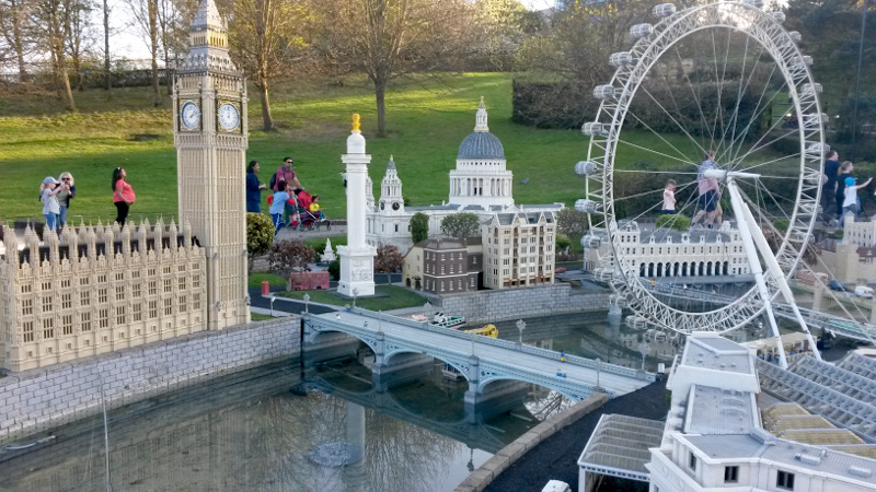 Big Ben and London Eye made of pieces of Lego