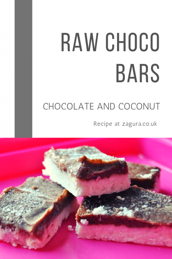 Raw cocoa and coconut bars - snack from the freezer