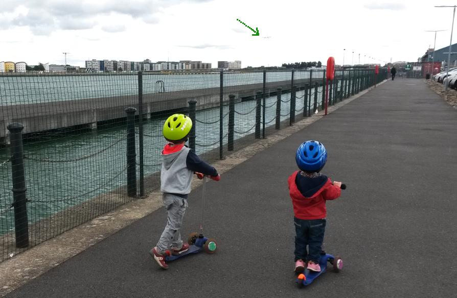 Kids spotting planes landing - London City Airport