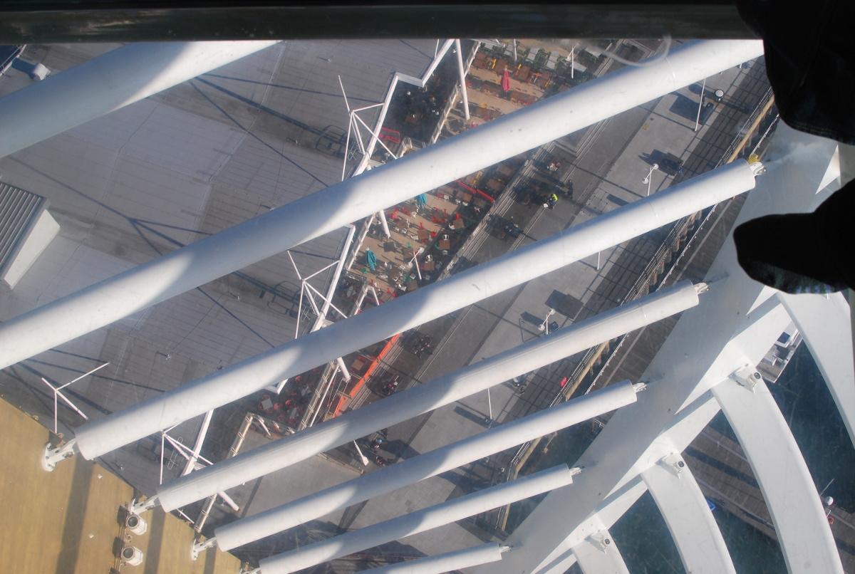 The glass floor of Spinnaker Tower