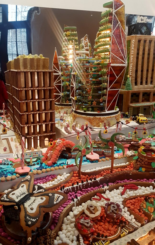 """White Christmas Square (left), Sugar Crystal Towers (because """"yummy design can solve all problems"""" in the Future City) and Yule Log Landscape (front)"""