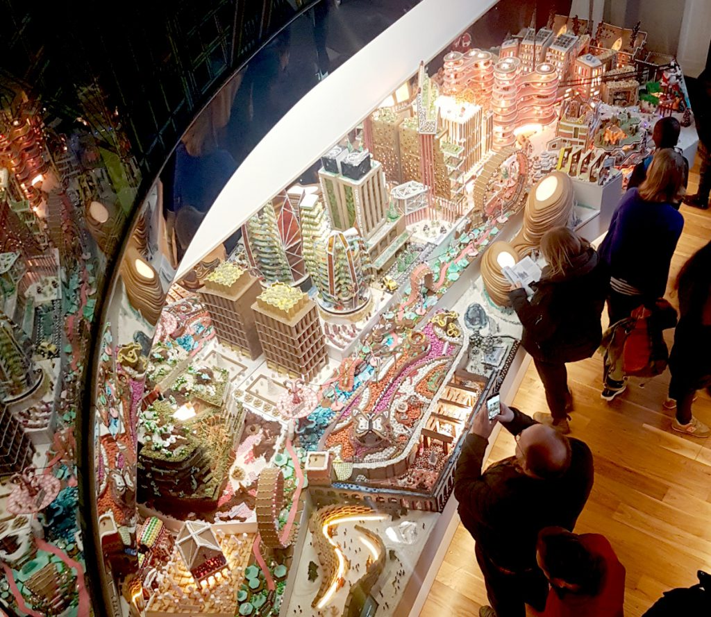 Gingerbread city viewed from above
