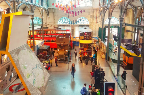 London Transport Museum with children
