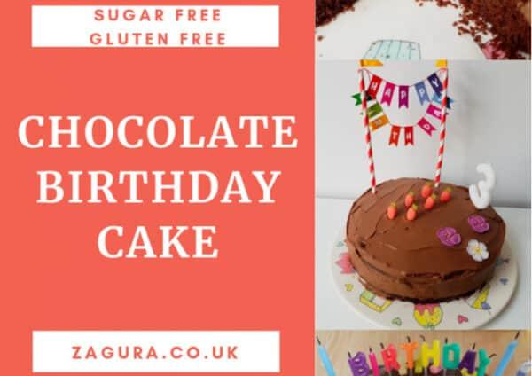 Sugar-free gluten-free chocolate birthday cake