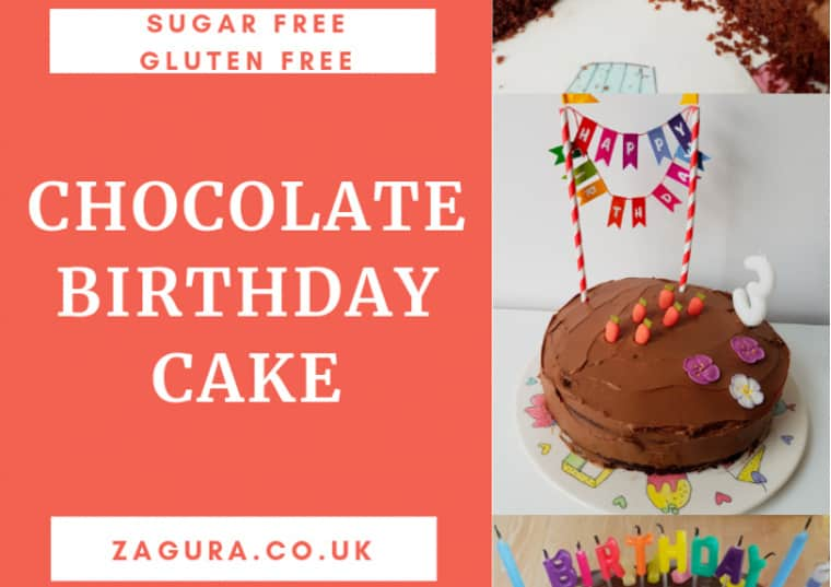 Sugar-free gluten-free chocolate birthday cake