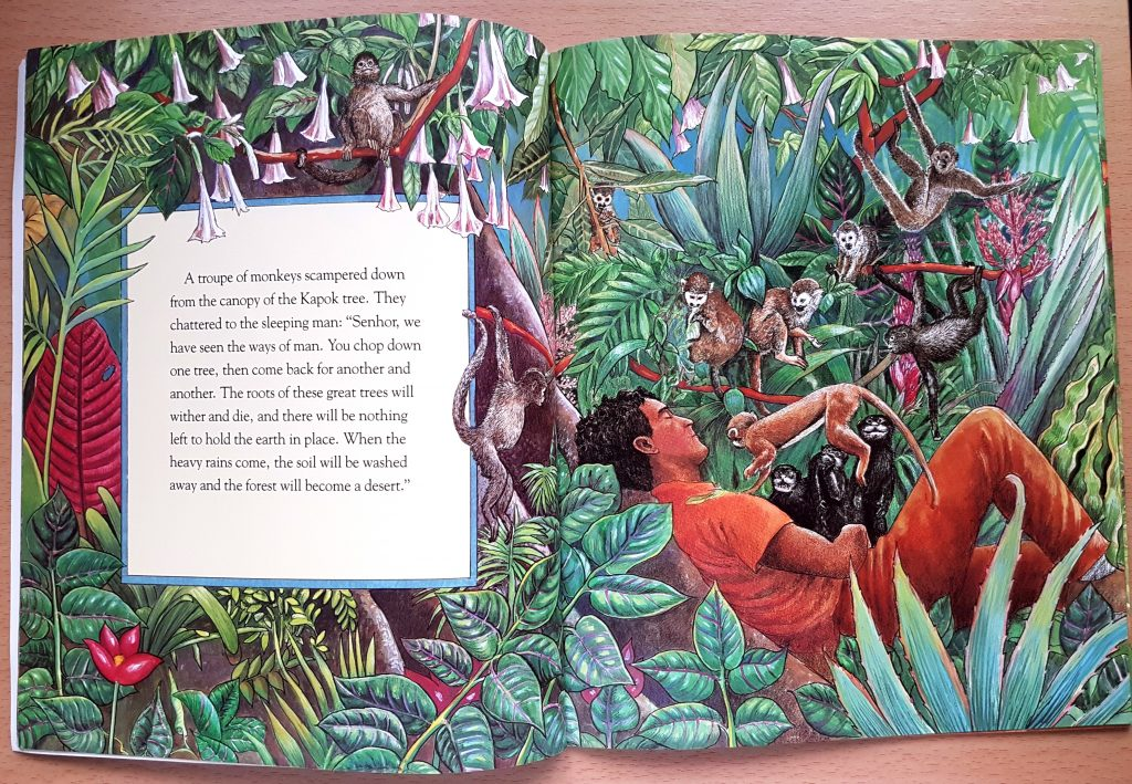 Snapshot from the book about recycling 'The great Kapok tree'
