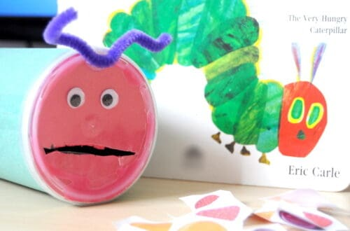 Very Hungry Caterpillar created from recycled materials - kids art and craft project