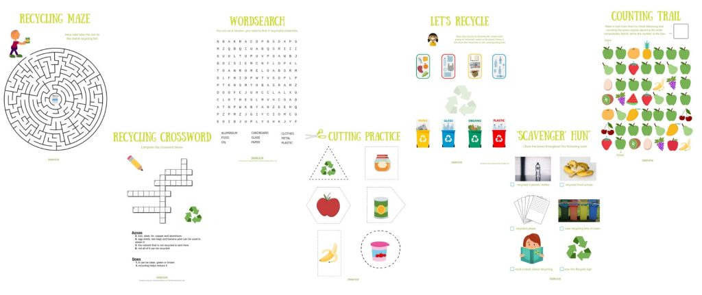 FREE printable activities to teach children about recycling