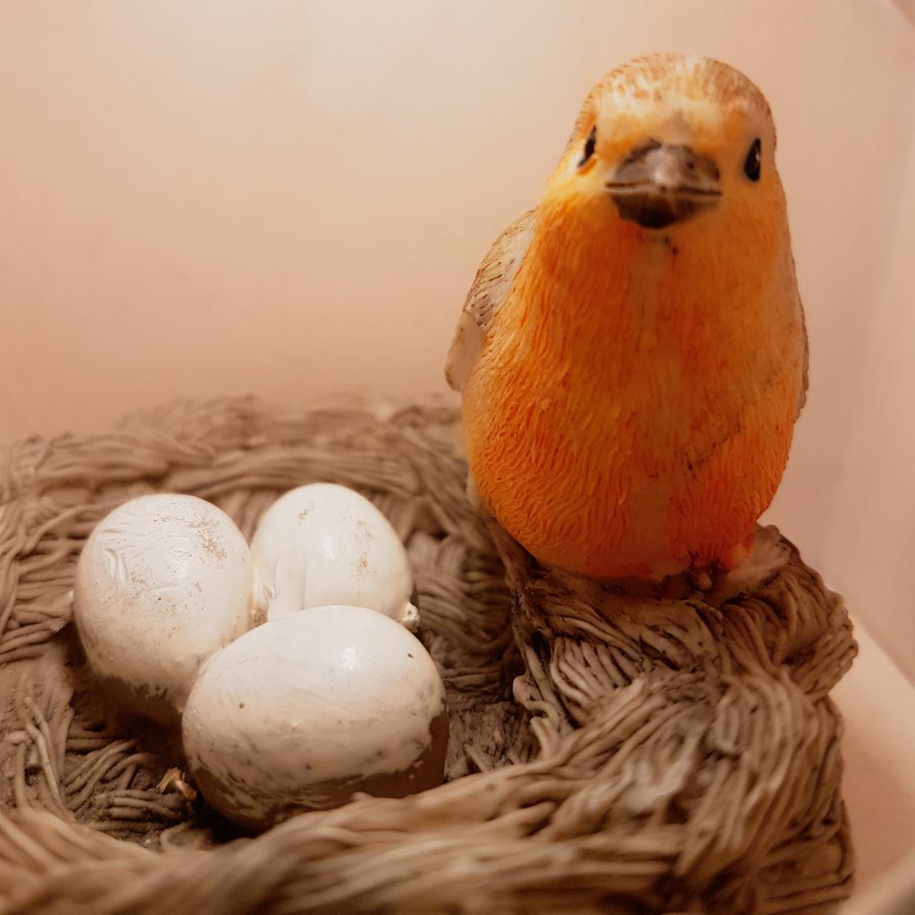 Bird with 3 eggs in a nest, hidden somewhere in children's Sorted! area at Postal Museum in London