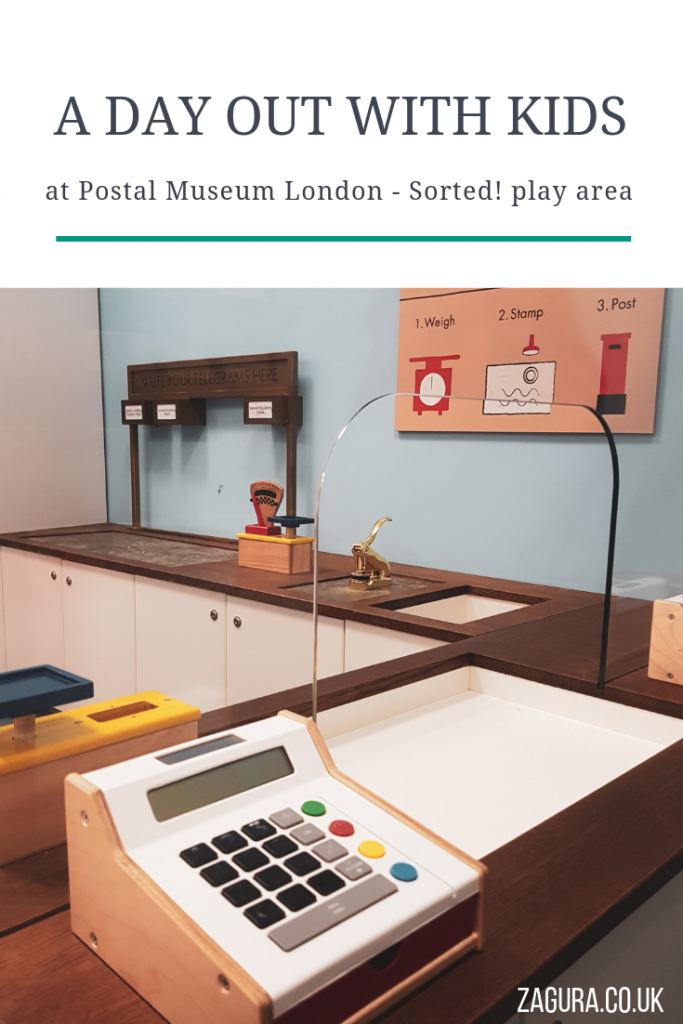 London Day Out with Kids at Postal Museum, pretend play at Sorted play area for children