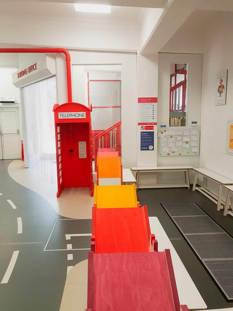 The play area for children and the waiting area for parents at Postal Museum in London