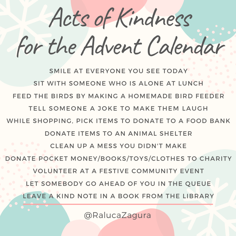 Acts of Kindness for Advent Calendar