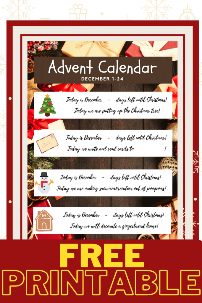 Free Printable Advent Calendar with 30+ activities