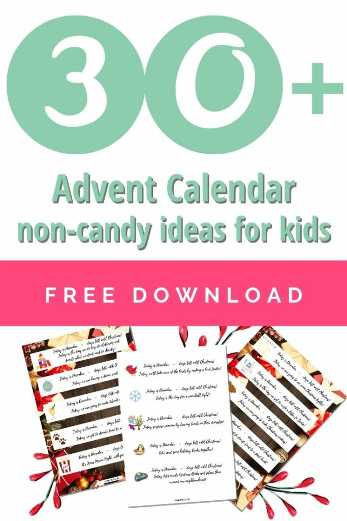 30+ advent calendar non-candy ideas for kids - free download