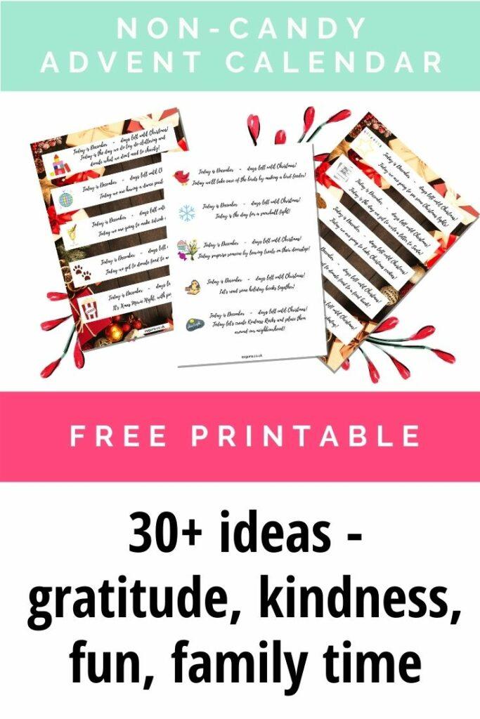 Free Printable - 30+ advent calendar non-candy ideas for kids