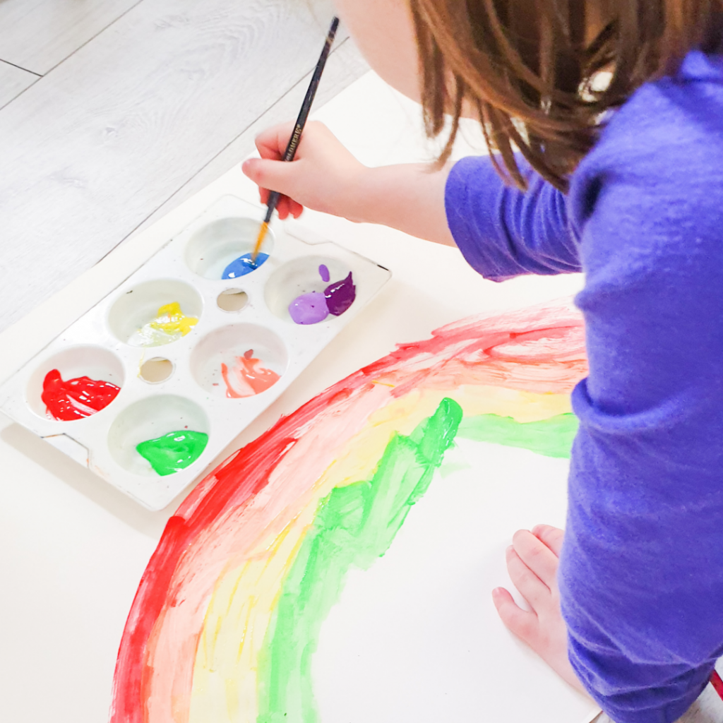Photo of a child painting a rainbow during Covid19 UK lockdown
